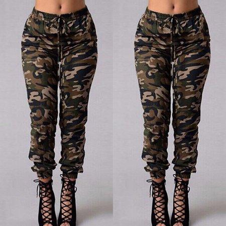 Hirigin - Women Camouflage Pants Camo Casual Cargo Joggers .