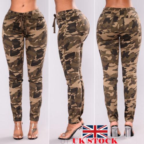 2020 Women Camo Cargo Pants Ladies Stretch Skinny Casual Army .