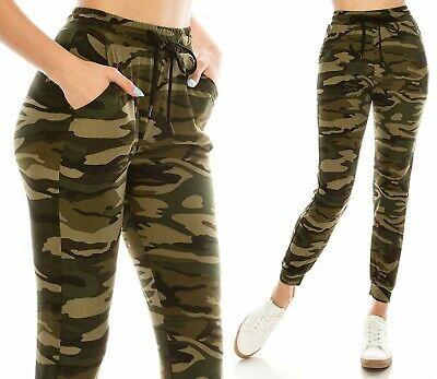 Women's Camo Jogger Sweat Pants Military Army Green Drawstring .