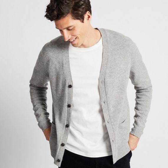 MEN Premium Lambswool V Neck Long Sleeve Cardigan - Sweaters .