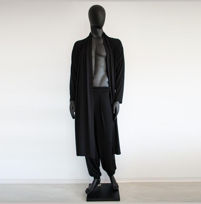 Long Men Cardigan Long Black Cardigan Boho Cardigan | RebelsMark