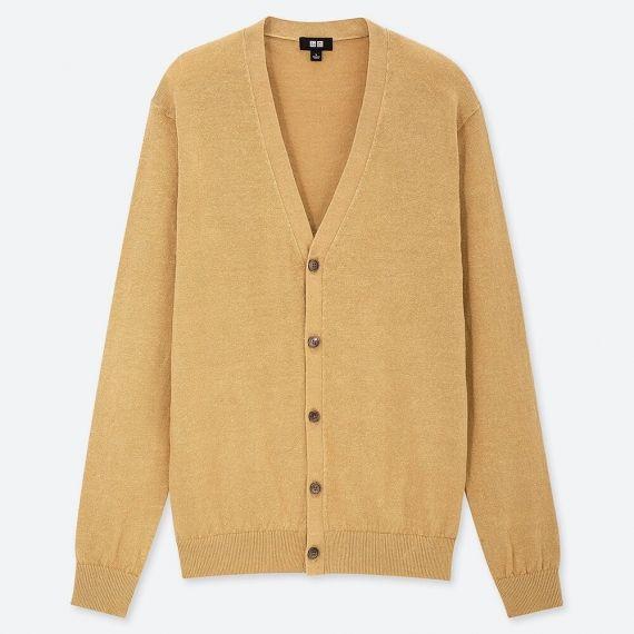 MEN Linen Blend V Neck Long Sleeve Cardigan - Sweaters & Cardigans .