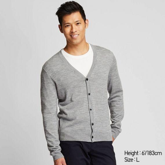 MEN Extra Fine Merino V Neck Long Sleeve Cardigan - Sweaters .