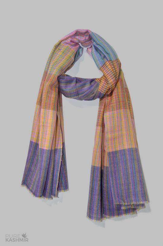 Multi Color Khadi Pattern Handwoven Cashmere Pashmina Shawl .