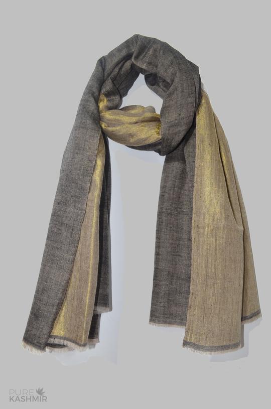 Reversible Metallic Black and Golden Handwoven Cashmere Pashmina .