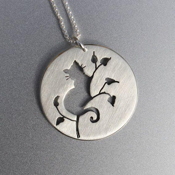 Silver Jewelry, Silver Pendant, Silver Jewellery, Cat Jewelry, Cat .