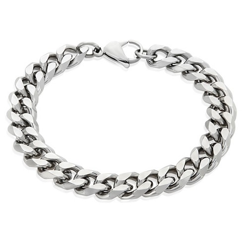Men's Crucible Stainless Steel Beveled Curb Chain Bracelet (11mm .