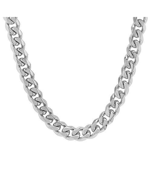 STEELTIME Men's Stainless Steel Thick Accented Cuban Link Style .