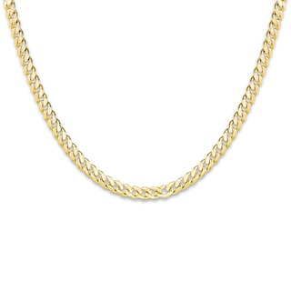 """Men's Cuban Curb Chain Necklace 14K Yellow Gold 24"""" Length ."""