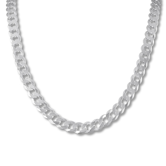 """Men's Curb Chain Necklace Sterling Silver 22"""" 