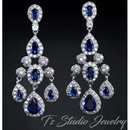 Sapphire Blue CZ Earrings Bridal Chandelier Cubic Zirconia Earin
