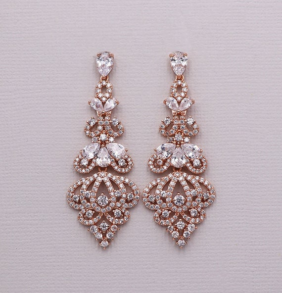 Rose Gold Chandelier Earrings cubic zirconia earrings bridal | Et