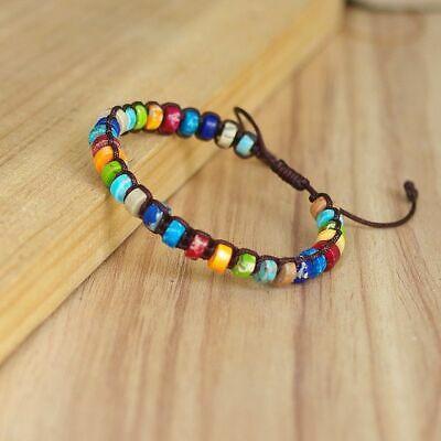 DIY Handmade Chakra Bracelets Woven Natural Stones Boho Yoga Charm .