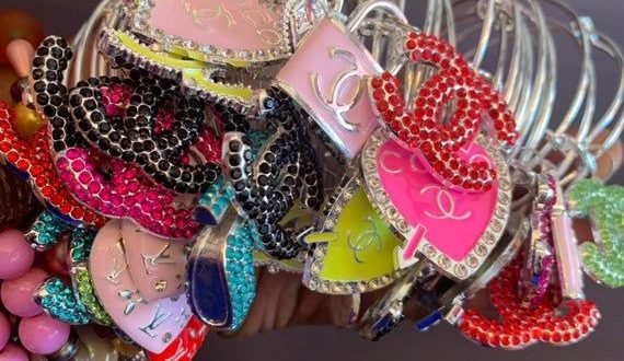 Designer Charm Bangles | Bangle bracelets with charms, Charm