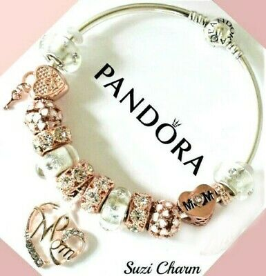 Authentic Pandora Charm Bracelet With Rose Gold MOM Flower .