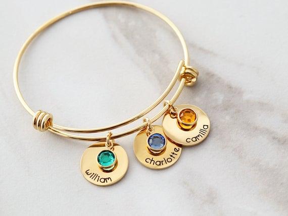 Birthstone Bracelet / Birthstone Charm Bracelet / Names | Et
