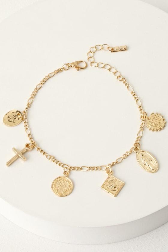 Cute Gold Bracelet - Charm Bracelet - Cross Bracel
