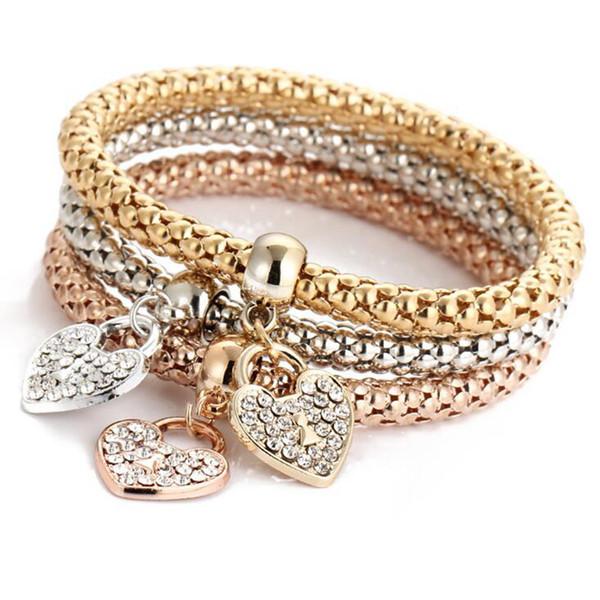 Heart Bracelets Women Alloy Charm Bracelets Love Crystal Bracelets .