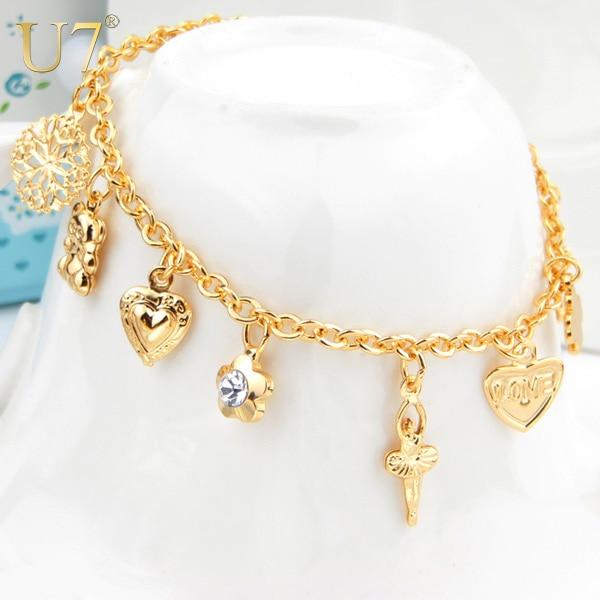 U7 Heart Cross Charm Bracelets For Women Gift Fashion Jewelry .