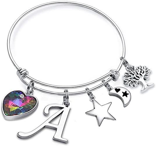 Amazon.com: MONOOC A Charm Bangle Bracelet, Womens Bangle .
