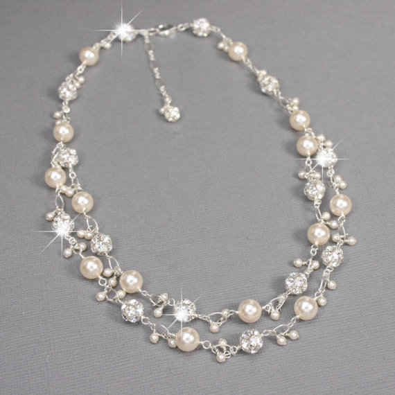 Unique Bridal Necklace, Rhinestone And Pearl Charm Necklace .