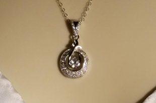 Cubic Zirconia Wedding Necklace, Micro Pave CZ Silver Necklace .