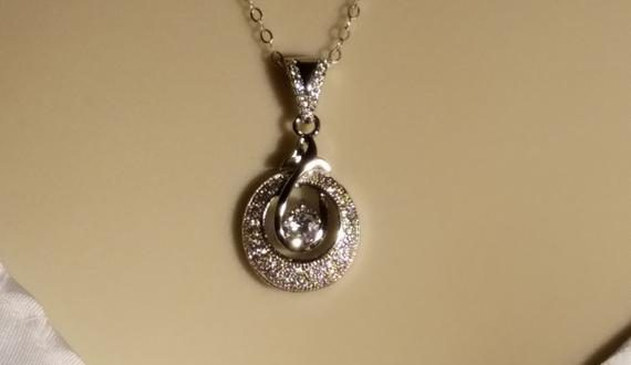 Cubic Zirconia Wedding Necklace, Micro Pave CZ Silver Necklace .