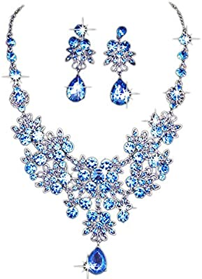 Amazon.com: Charm Wedding Bridal Crystal Necklace Earrings Jewelry .