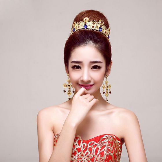 Golden Retro Bridal Jewellery Wedding Tiara /Charm Earrings Bride .