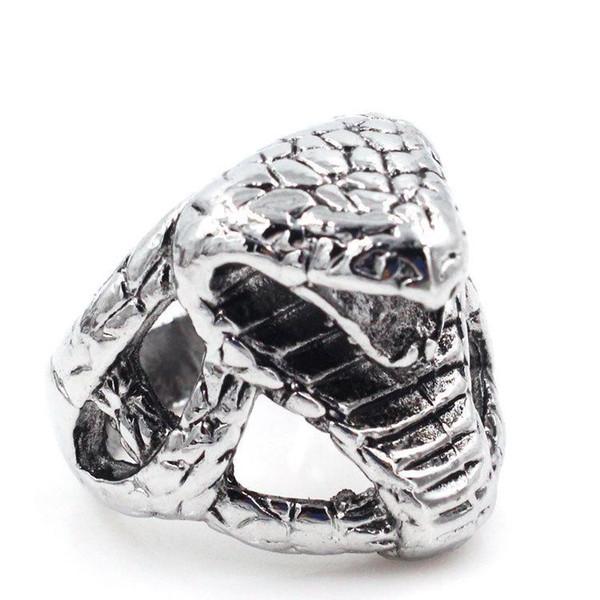 2020 2019 Titanium Steel Cobra Head Charms Mens Jewelry Rings .