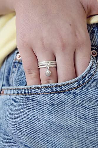 Amazon.com: Sterling Silver Charm Ring Set, Dangle Cute Unique .