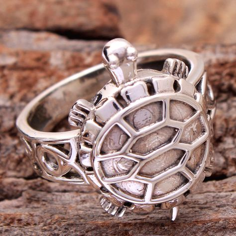 Amazing Sea Turtle Charm Silver Stylish Ring For Special Gift .