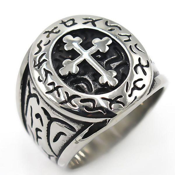 2019 Titanium Steel Leetspeak Cross Charms Mens Jewelry Rings .