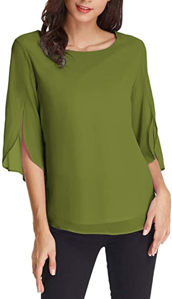 GRACE KARIN Women's Casual Chiffon Blouse Tops Half Ruffle Sleeve .