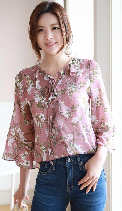 Floral Print Ruffle Chiffon Blouse in 2020 | Cute blouses, Kawaii .