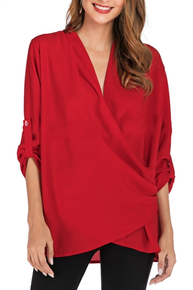 Womens New Stylish Simple Plain V-Neck 3/4 Sleeve Button Chiffon .