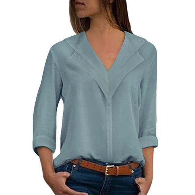 Long Sleeve Chiffon Blouse Double V-Neck Women Tops And Blouses .