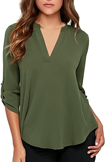 roswear Women's Casual V Neck Cuffed Sleeves Solid Chiffon Blouse .