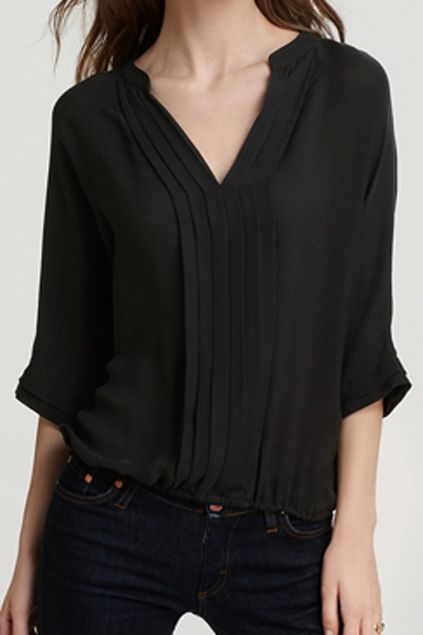 V-neck Crop Sleeve Pleated Black Chiffon Blouse | Black chiffon .