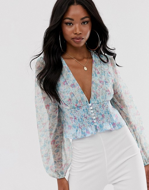 PrettyLittleThing plunge chiffon blouse with balloon sleeve in .