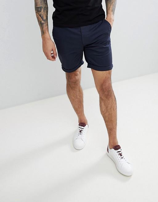 ASOS DESIGN slim chino shorts in navy | AS