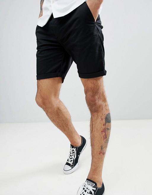 ASOS Slim Chino Shorts In Black | AS