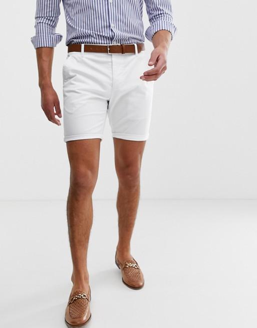 ASOS DESIGN skinny chino shorts in white | AS