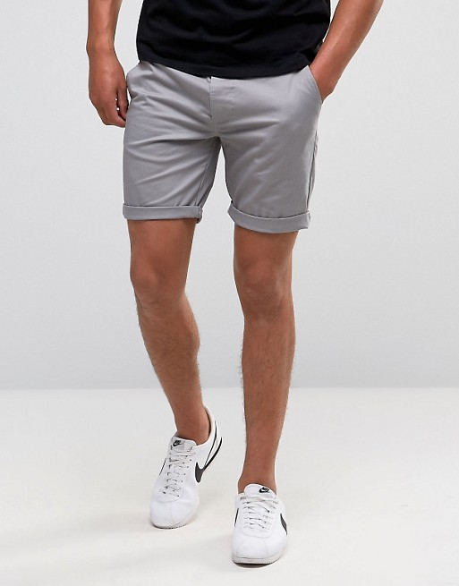 ASOS Slim Chino Shorts In Light Gray | AS