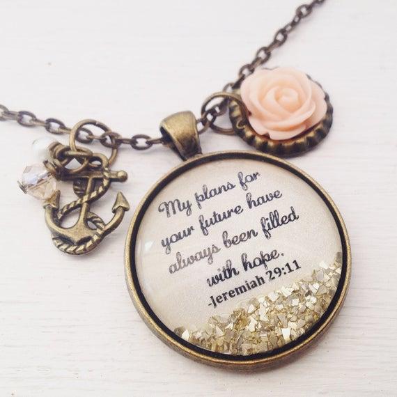 Bible verse necklace Jeremiah 29:11 Christian jewelry | Et