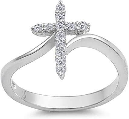 Amazon.com: Silver Cross Ring Sterling Silver 925 Christian .