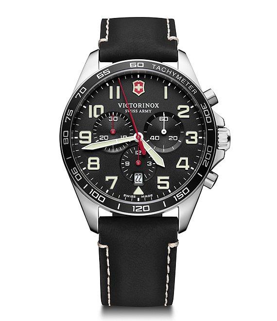 Victorinox Swiss Army Field Force Black Strap Chronograph Watch .