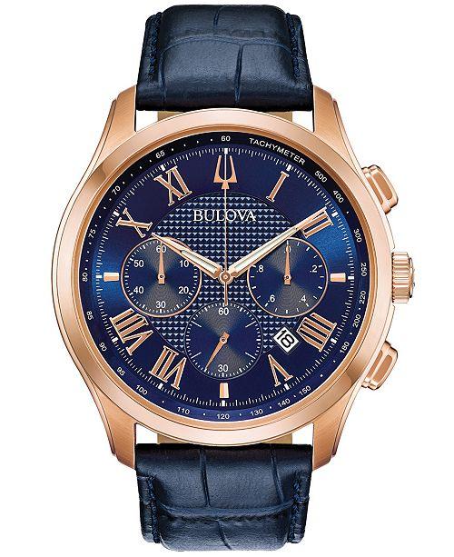 Bulova Men's Chronograph Wilton Blue Leather Strap Watch 46.5mm .