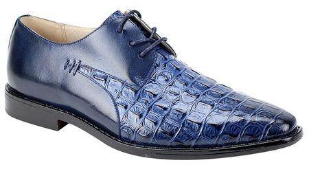 Giovanni Mens Crocodile Print Blue Lace Up Church Shoes 25
