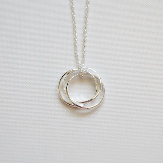 Three circle necklace, anniversary gift, sterling silver nesting .